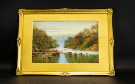 T.M Furness Original Oil On Board Untitled depiction of tranquil river scene.