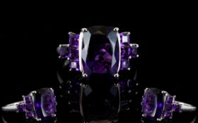 Amethyst Cushion and Square Cut Ring, an