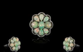 Opal Cluster Ring, comprising six pear c