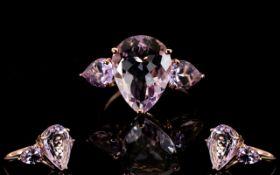 Rose de France Amethyst Pear Cut Ring, a