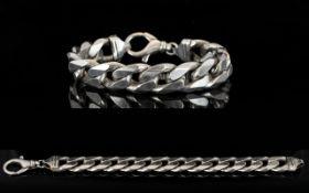 Gents - Solid Silver Flat Curb Bracelet