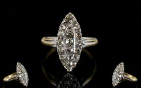 Antique Period 18ct Gold Marquoise Shape