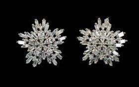 Diamond 'Starburst' White Gold Cluster E