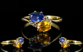 Ladies 18ct Gold Attractive Two Stone Sa