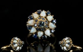 14ct Opal and Sapphire Set Dress Ring, O