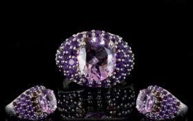 Amethyst and Rhodolite Garnet Dome Ring,