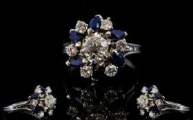 18ct White Gold Diamond & Sapphire Clust