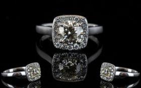 18ct White Gold Diamond Set Halo Dress R