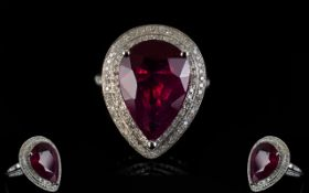 14ct Gold Pear Shaped Ruby and Diamond S