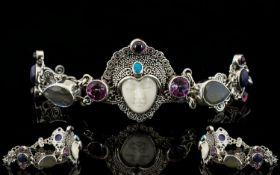 Artisan Balinese Gemstone Set Carved Ser