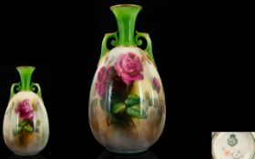 Royal Worcester Handpainted Twin Handle