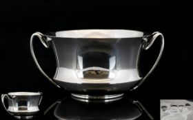 Arts and Crafts Superb Quality Solid Silver Twin Handle Shaped Bowl of Excellent Form,