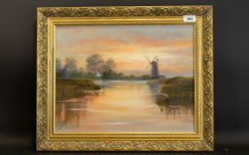 Original Oil On Board Depicting country landscape with watermill, 13 x 17 inches,