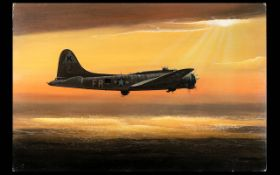 Terry Farrimond ( 20th Century ) A B17-G Bomber On A Mission. Oil on Artists Board.