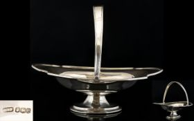 George V - 1920's Top Quality Solid Silver Swing Handle Footed Fruit / Basket / Bowl of Excellent