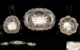 Edwardian Period Various Nice Quality Silver Footed Bon Bon Dishes ( 3 ), Each with Extensive /