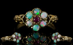 Antique Period Attractive 9ct Gold Opal and Garnet Gallery Set Dress Ring. Flower head Design.