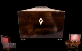 George III Mahogany Sarcophagus Form Tea Caddy Circa 1820 Complete with original fitted interior,