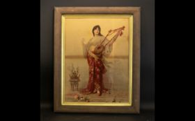 Antique Framed Print Polychrome print depicting female musician in flowing robes and jeweled