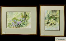 Michelle Johnson 20th Century Pair of Flower Studies with Pansies In a Wooded Landscape