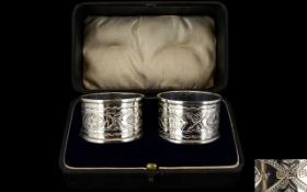 Edwardian Period Good Quality Pair of Boxed Silver Napkin Holders of Solid Form.