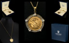Royal Mint Classics 9ct Gold Pearl and Diamond Set Half Sovereign Coin Mount Pendant,