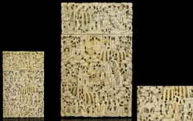 Chinese - Canton Mid 19th Century Well Carved Ivory Card Case,