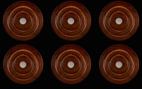 A Set Of Six Contemporary Polished Mahogany And Sterling Silver Wine Coasters Elegant circular