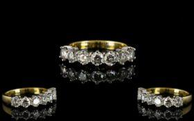18ct Gold - Superb Quality 7 Stone Diamond 1/2 Eternity Ring,