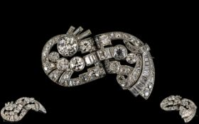 Art Deco Period - 18ct White Gold Stunning and Old Baguette Round Brilliant Cut Diamond Set Brooch