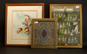 A Collection Of Three Framed Pictures, Comprising An Aboriginal Art Sand Painting,