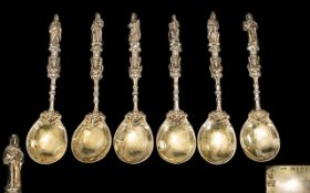 Dutch - Wonderful Quality 19th Century Set of Six Cast Silver and Gilt Apostle Spoons. The Figure of