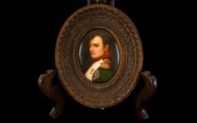 Antique Portrait Miniature On Porcelain Depicting a Napoleonic Gentleman in full uniform. Approx 2.
