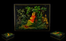 A Mid 20th Century Handpainted Russian Lacquer Box Rectangular form, black lacquer,