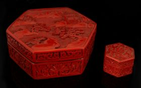 Two Oriental Cinnabar Boxes Each of hexagonal form,