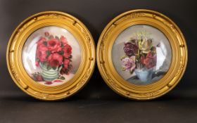 A Pair Of Framed Floral Still Life Oil On Board Each housed in gilt swept circular convex frames,