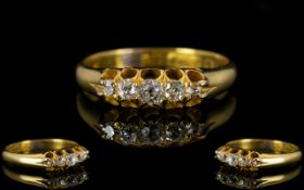 Victorian Period - Gallery Set 5 Stone Diamond Ring, The Five Old Cut Diamonds of Excellent Colour,