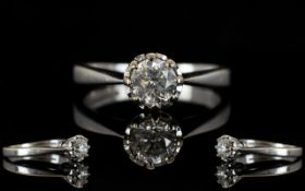 18ct White Gold Attractive Illusion Set Single Stone Diamond Ring, Colour - Good. Diamond Size 0.