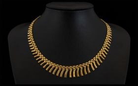 Cleopatra Style 9ct Gold Necklace, Marked 9.375 Gold. Attractive Well Made Necklace at Low Estimate.