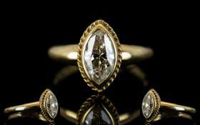 Ladies 9ct Gold - Attractive Single Stone Diamond Ring,