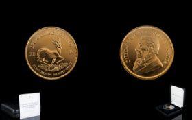 2017 South Africa Ltd Edition Quartz Ounce Fine Gold Krugerrand - Uncirculated Mint Condition.