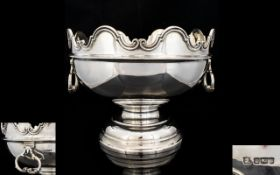 Edwardian Period Superb Quality and Handsome Solid Silver Monteith Bowl by James Deakin and Sons.
