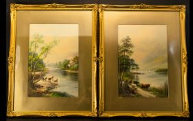 Albert Milton Drinkwater (British 1862-1923) Two Original Watercolours Each framed,