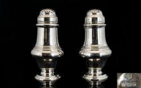 Art Deco Period Solid Silver Pair of Superior Quality - Very Nice Pepperettes,