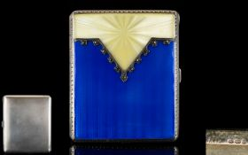 Art Deco Period Wonderful Quality - Guilloche Enamel and Silver Starburst Design Ladies Hinged Case,