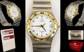 Omega - Constellation 18ct Gold and Steel 13123000 Automatic Chronometer Gents Wrist Watch.