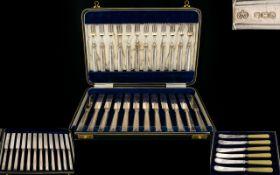 Elkington & Co Delux Boxed Set of A ( 24 ) Piece Silver Handled Fruit Set - 12 Forks & 12 Knives.