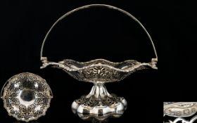 Elkington & Co Superb Quality Fancy / Ornate Open Worked Swing Handle Fruit Pedestal Bowl /