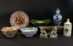 A Collection Of Oriental Items To include 19th century jar and cover in blue and white,