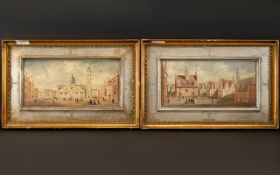 A Pair Of Continental Oil On Canvas Street Scenes Each depicting figures amongst architecture,